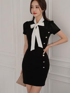 Korean Bow Lace Patchwork Wrap Dresses