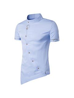 Euro Fashion Stand Collar Short Sleeve Shirt