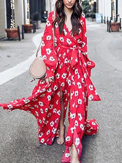 New Red V Neck Floral Long Dresses