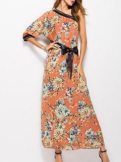 Bohemian One Shoulder Floral Maxi Dresses