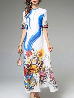 Euro Elegant Flower Printing Long Dresses