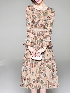 Elegant O Neck Printing Flare Sleeve Chiffon Dresses