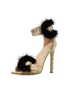 Fashion Fur Buckle Strap Stiletto Sandals