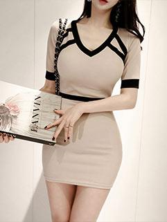 Elegant V Neck Wrap Knitting Dresses