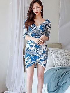 New Sexy V Neck Printing Wrap Dresses