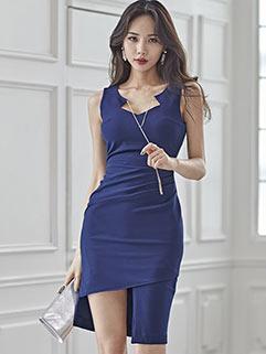 Sexy V Neck Irregular Sleeveless Dresses