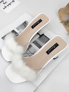 Fashion Peep Toe Chunky Heels Slippers