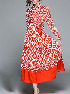 Elegant Geometric Print Bow Long Dresses
