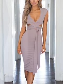Euro Hollow Out Bandage Wrap Dress Design