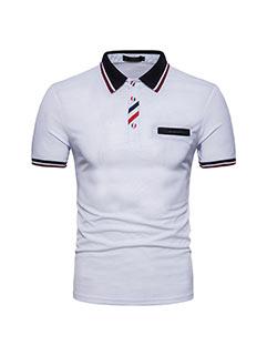 Button Design Color Block Men Polo Shirt