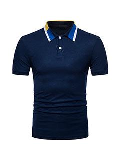 Color Block Short Sleeve Casual Design Polo Shirt
