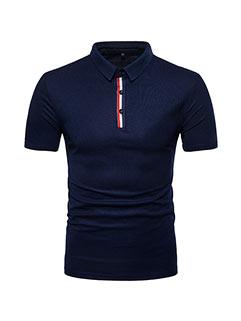 Gentlemen Design Color Block Short Sleeve Polo Shirt