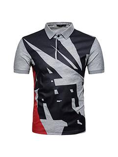 Punk Style Color Block Short Sleeve Men Polo Shirt