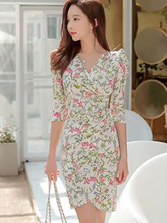 Elegant V Neck Floral Wrap Dresses