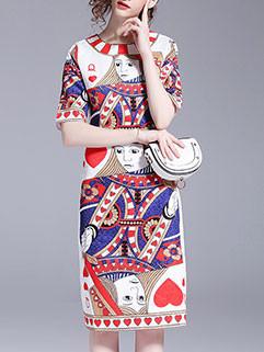 Unique Design Cartoon Printing Mid Waist Party Dresses