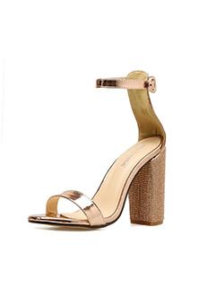 Rhinestone Chunky Heels A Buckle Sandals