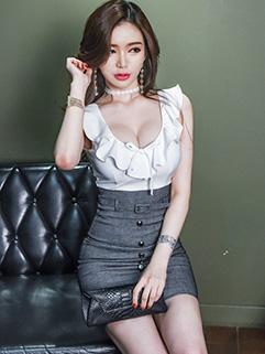 Sexy Fashion Low U Neck Patchwork Pencil Dresses