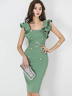 Korean Fashion Ruffle Double-breasted V Neck Ladies Dresses