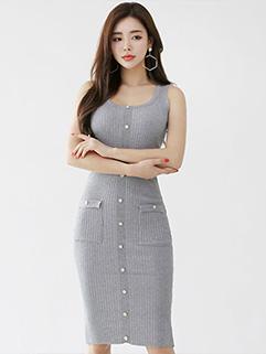 Trendy Korean Knitting U Neck Tank Dresses