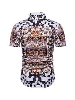 Vintage Court Style Printing Short Sleeve Shirt
