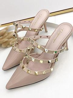 Pointed Toe Rivet Thin Heel Female Slippers