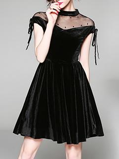 Euro Gauze Patchwork Velvet Solid Black Dresses