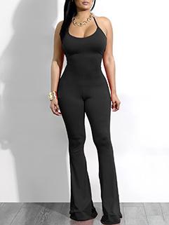 Hot Sale Solid Wrap Hip U-Neck Jumpsuit
