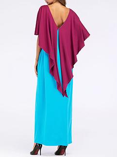 Color Block Wing Design Asymmetric Arab Caftan Dresses