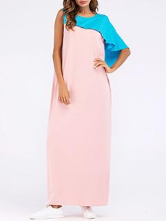 Color Block Asymmetric Patchwork Thobe Thawb Caftan Dresses