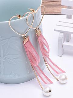 Chic Sweet Heart Heart Pearl Earrings