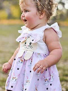 Euro Style Rabbit Printing Cap Sleeve Dresses