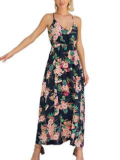 Bohemian Style Spaghetti Strap Floral Long Dresses