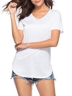 Simple Design O Neck Short Sleeve T-Shirt