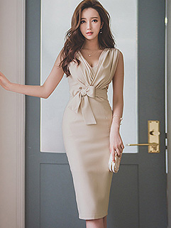 Korean Fashion V Neck Bow Bandage Wrap Summer Dresses