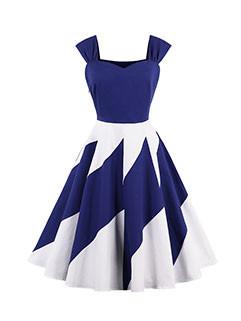 Elegant Sleeveless Off Shoulder Contrast Color Dresses