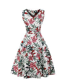 Elegant Vintage Sleeveless V Neck Floral Dresses