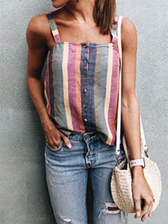 Summer Striped Color Block Tanks