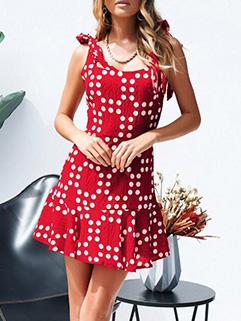 Backless Chiffon Dot Printing Tied Straps Dresses