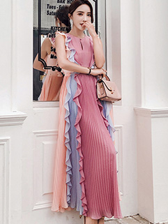 Fashion Chiffon Patchwork Maxi Dresses