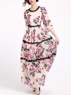 Elegant Beauty Floral Half Sleeve Long Dresses