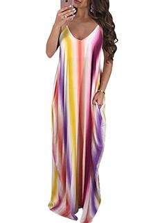 Beauty Gradient Strap Long Dresses Beach Style