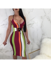 V-neck Striped Lace Up Bodycon Dresses For Women