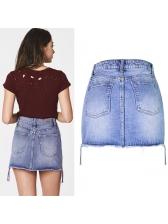 Simple Design High Waist Zipper Up Skirt