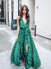 New Deep V Neck Sleeveless Floral Dress