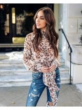 Leopard Tie-wrap Hollow Out Cardigan Blouse