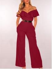 Fashion Flounced Sleeve Off Shoulder Jumpsuit
