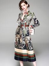 Euro Elegant Floral Striped Long Dresses