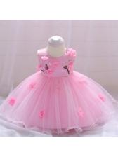 Applique Gauze Patchwork Bow Baby Girl Dress
