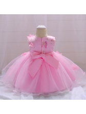 Applique Gauze Patchwork Bow Baby Girl Dress