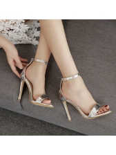 Solid Buckle Strap Stiletto Sandals Heels